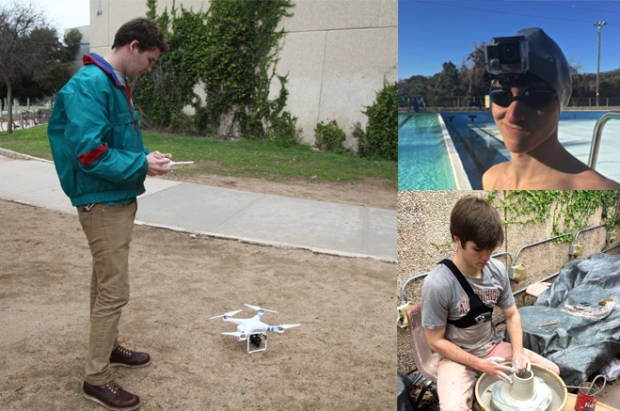 Geoffrey King operates the drone, Students wear the GoPro