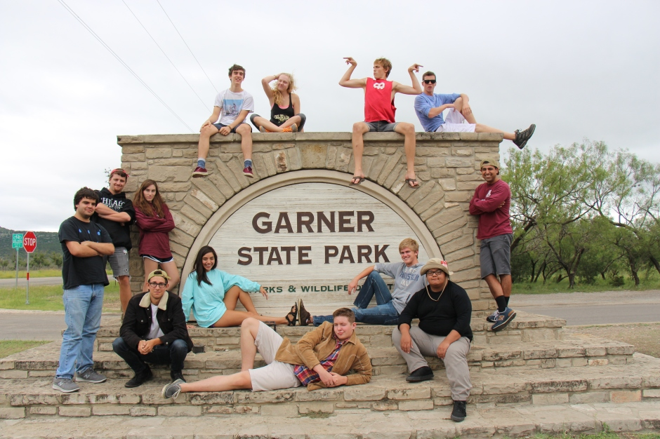 the kahs krew takes mandatory picture at Garner State Park
